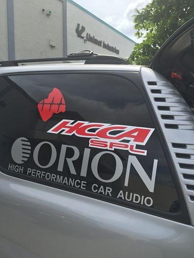 Orion Car audio Decals Stickers Car Audio car window stickers Pair